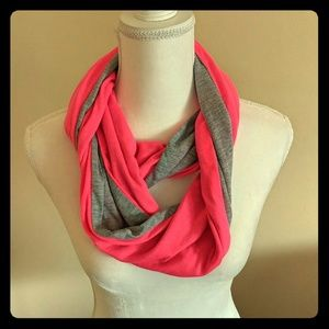 NWT Pink and Grey Infinity Scarf